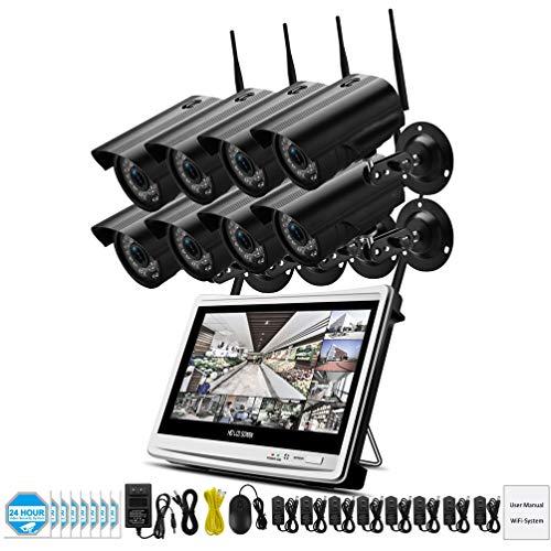 MYZZ IP al Aire Libre Sistema de cámara de 2MP 8CH 1080P Video Surveillance Kit sin Hilos del LCD NVR de Seguridad Camara WiFi Circuito Cerrado de televisión de Alta definición P2P,1tb