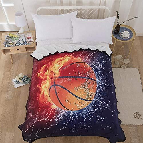 Couverture Polaire 150x200 cm - Couverture de Lit Douce et Chaude Plaid Jeté de Canapé Flanelle -Basketball, Sport, modèle,Impression 3D en Fibre de Polyester
