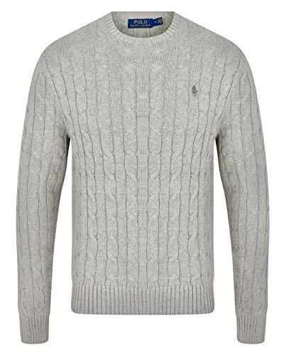 Ralph Lauren - Maglione da uomo a girocollo lavorato a maglia, colori assortiti, S - XXL Grau Erica XL
