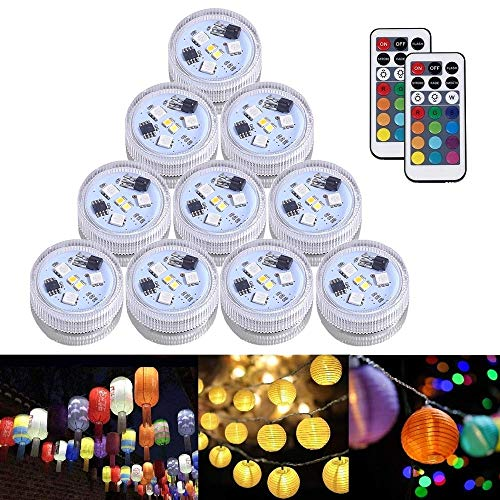 JT 10pcs Paper Lantern Lights Waterproof Tea Lights Candle with Remote,RGB Color Changing Submersible LED Light,Battery Operated for Vase/Valentine/Wedding/Birthday Party Decoration/Table Centerpieces