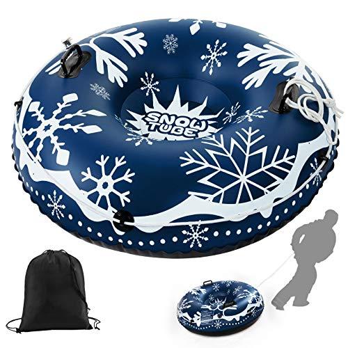ZEHNHASE Aufblasbare Schlitten für Erwachsene Kinder, 47 Zoll Schwerlast Snow Tube mit Griffen für Winter Outdoor Sport