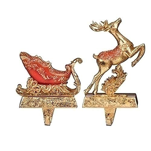 Roman Set di 2 Calze di Natale con Cervo e Slitta in Oro Rosso, 15,2 cm