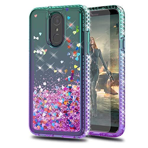 LG Q7 Hülle, LG Q7 Plus, LG Q7 Alpha-Hülle, LG Q7+ mit HD Bildschirmschutzfolie, KaiMai Glitzer bewegende Quicksand Klar Niedlich Glänzende Handyhülle für LG Q7 LS-LG Q7 LS-LG Q7-Aqua/Lila