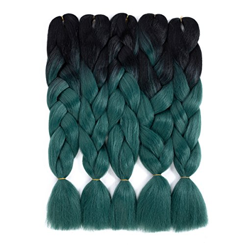 Ombre Braiding Hair Black-Dark Green Kanekalon Braiding hair 5Pcs Jumbo Braids Synthetic Hair Extensions 2 Tone Color (5pcs, T1B/Dark Green)