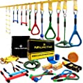 NINJACTIVE Ninja Warrior Obstacle Course for Kids - Weatherproof 50' Ninja Slackline Kit with 10 Obstacles Like Ladder, Spinning Wheel - Ninja Warrior Training Equipment with Slack Line for Backyard