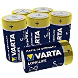 VARTA Longlife C Baby LR14 Batterie (6er Pack) Alkaline Batterien – Made in Germany – ideal für Fernbedienung Radio Wecker und Uhr