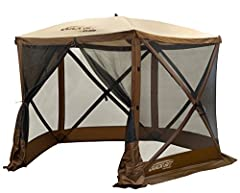 Pop-up screen Shelter offering a smaller size for packing and transporting Built-in roof flap detours rain water over wind panels Water resistant, taped roof seams Offers protection from the rain, sun and bugs Easily fits up to 6 People