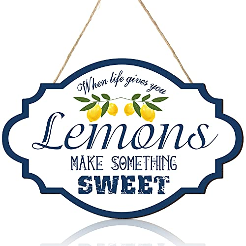 Jetec Lemon Wood Sign 12 x 7.9 Inches Rustic Lemons Make Something Sweet Wooden Wall Decor Farmhouse Porch Decoration Round Wooden Hanging Sign for Home, Restaurant, Shop