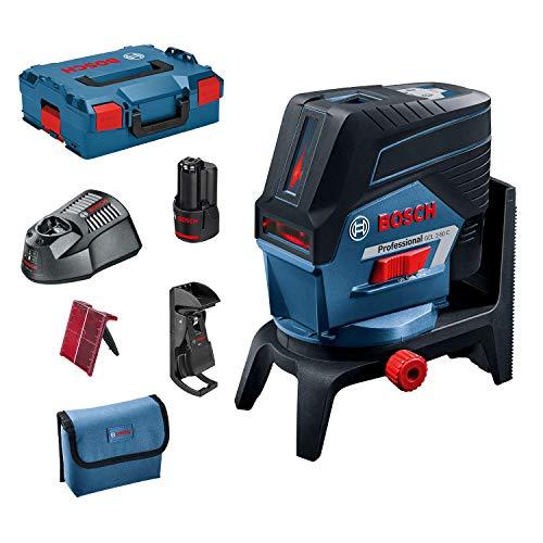 Bosch Professional Sistema 12V Nivel Láser GCL 2-50 C (1 batería 12V + cargador, láser rojo, interior, con función aplicación, soporte, pinza, alcance visible: hasta 20m, L-BOXX)