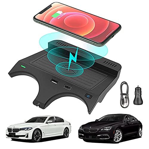 sZeao Cargador Inalámbrico para Coche Compatible con BMW 5 Series 2017-2021 BMW 6 Series 2018-2019 10W Cargador Inalámbrico Placa Fast Pratical Compatible con iPhone Qi Smartphone