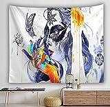 Tapiz de personaje abstracto hermosa mujer manta colgante de pared arte hogar sala de estar dormitorio decoración manta de playa A2 180x200cm