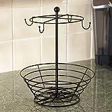 NiftyCoffee Pod & Mug Carousel – Holds 4 Cups, Capsule Storage, Spins 360-Degrees,Lazy SusanPlatform,ModernBlackSteel,HomeorOfficeKitchen Counter Organizer