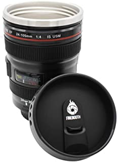 FireBooth Camera Lens Coffee Mug/Cup Insulated Travel Thermos with Stainless Steel , Easy Clean Lid, Premium Quality, Durable Cup, Ideal for Travelers, Photographers, Hiking, Camping, Office