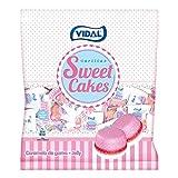 Vidal Golosinas Sweet Cakes. Caramelos de goma en forma de tartitas con delicioso sabor a fresa nata. Envuelta individual. Bolsa 200 unidades