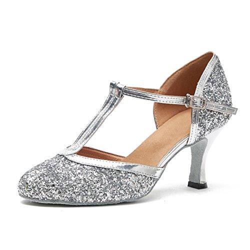 MINITOO Damen Latein Salsa T-Strap Silber Glitter Performance Tanzschuhe Hochzeitsschuhe EU 37