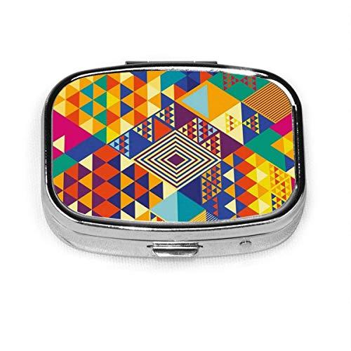 Bunte zufällige Dreiecke Zusammensetzung geometrische quadratische Pille Fall tragbare Box Tasche Geldbörse Tablet Medizinhalter Reiseorganisator Fälle