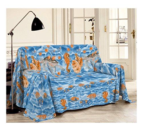 Smartsupershop Tagesdecke Tagesdecke/Überwurf Frühling Sommer Doppelbett 250x 290Seepferdchen blau aus Baumwolle Jacquard Made in Italy