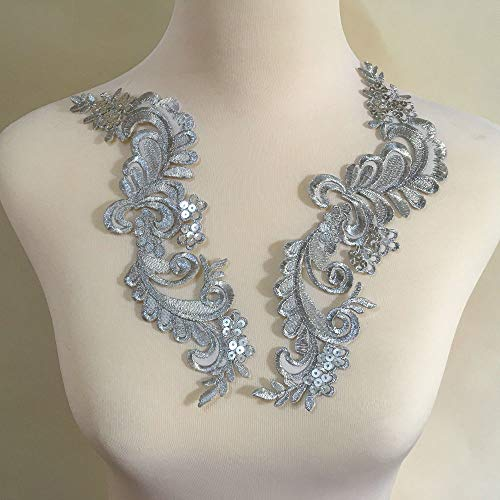 Big Flower Iron on Embroidered Appliques Patch Embroidered Lace Fabric Ribbon Trim Neckline Collar (Silver C)