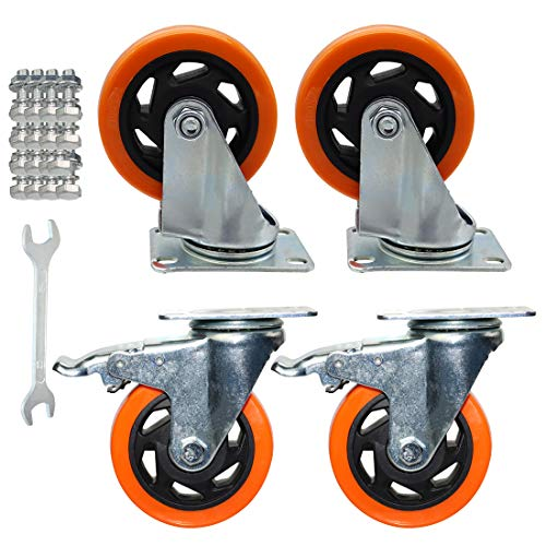 Aozel 4 Inch Casters Wheels Heavy Duty Swivel Casters Top Plate Castors Double Locking (2 with Brakes and 2 Without)