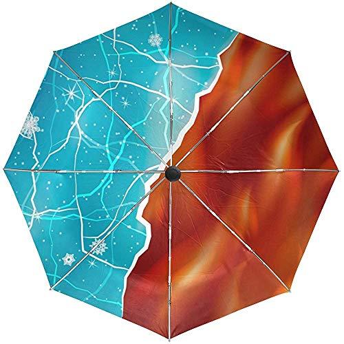 EIS und Feuer Hitze Kälte Automatik Öffnen Schließen Regenschirm Winddicht Leichter Kompakter Reiseschirm