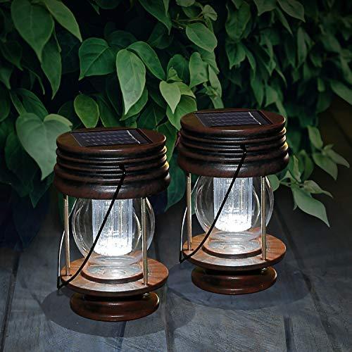 SolarLaternen für außen, 2 Stück Hängend Lantenen Antik Solarleuchte mit Griff gartenlaternen für Aussen Garten Hof Hinterhöfe Wege, Solarlampe Wasserdicht, Weißes Licht