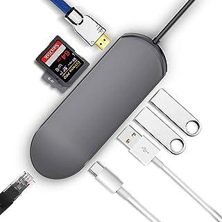 Portable Docking Station,Type-c hub docking station USB3.0 splitter Gigabit Ethernet port SDTF hub PD fast charge, TF/SD c...