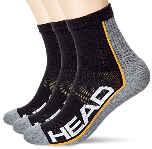 Head Performance Short Crew Socks (3 Pack) Calcetines de tenis, gris/negro, 43/46 (Pack de 3) Unisex adulto