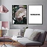 ganlanshu Decoración nórdica del hogar Flores Blancas Azules Rosas Lienzo póster Citas Inspiradoras,Pintura sin marco-40X53cmx2