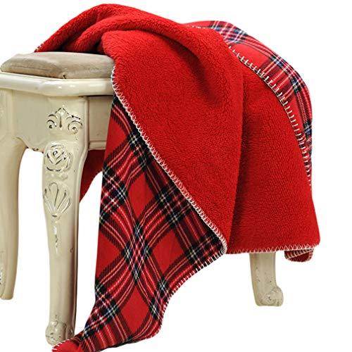Beskie Fleece-Überwurfdecke für Sofa, Couch, Bett, Reisen, Schottenkaro in Rot/Schwarz, dekorative Überwurfdecke, 130 cm x 160 cm, Fleece, rot, 51''*63''/130*160cm