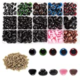 AIEX 560pcs Colorful Eyes and Noses, Includes 170pcs Plastic Safety Eye and 110pcs Safety Nose with 280pcs Washer Multiple Sizes for Doll, Teddy Bear Craft Making