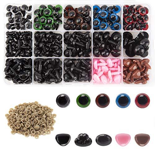 AIEX 560pcs Occhi colorati e nasi, include 170pcs Sicurezza di plastica Occhio e 110 pezzi Naso di sicurezza con 280 pezzi Rondella Taglie multiple per bambola, orsacchiotto Creazione artigianale