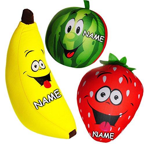 alles-meine.de GmbH großes Knautschkissen / Stoffball / Knautschball -  lustige Früchte / Obst mit lachendem Gesicht  - inkl. Name - 34 cm - Spandex Softball mit Mikroperlen - ..
