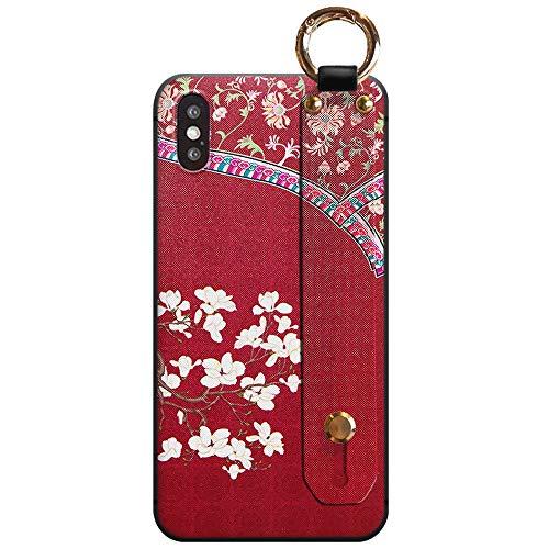 POTATO Iphone7ケーススマホケース Iphone8 Iphone SE ケース [第2世代] 和風 中華風スマホケース片手操作、落下防止スマホベルトグリップ 立体的なプリント高級感手触り携帯カバー 個性プレゼントお洒落 (玉蘭紅袍*紅宮繩)