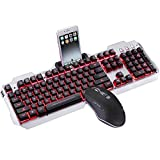 LC_Kwn Gaming Keyboard and Mouse Set Wired Backlit Keyboard USB Wired Gaming Keyboard for Gamers