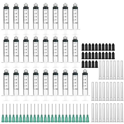 Paquete de 25 jeringas de 5 ml con agujas de relleno y tapas de almacenamiento de 18 G de 1,0 pulgadas (Luer Lock)