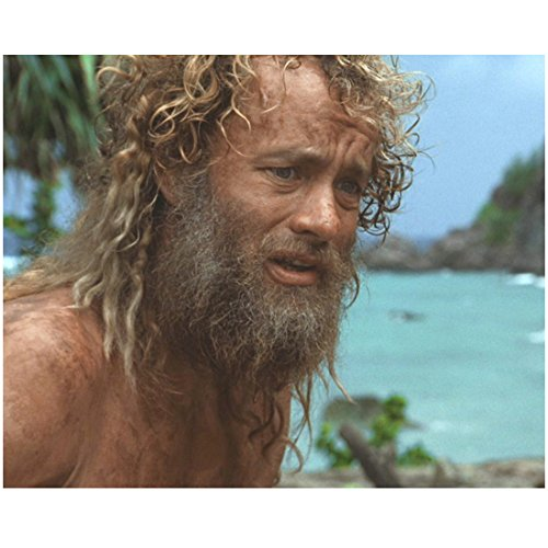 Tom Hanks as Chuck Noland in Cast Away Scruffy Beard and Hair Leaning Over Shirtless 8 x 10 Inch Photo