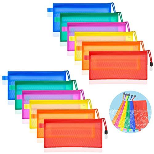 boyigog 12 Pcs - Bolsas de Documentos con Cremallera , Impermeable Carpetas de Plásticopara Archivo, para Viajar Estudiar Guardar Mascarillas Cosméticos Oficina(6 Colores)