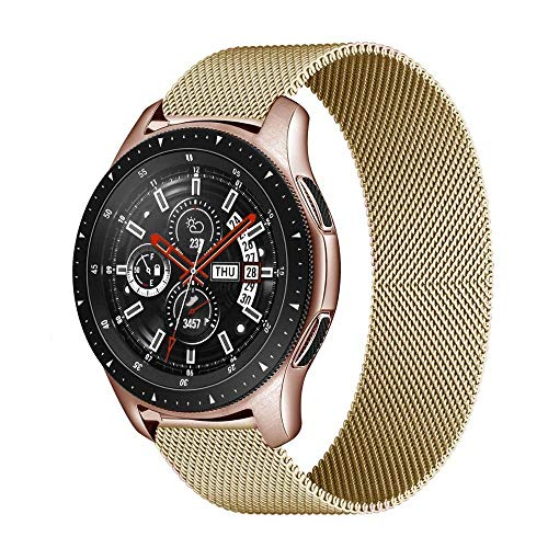 PZZZHF MILANESE Boop 20mm 22mm Strap para Samsung Galaxy Watch 3 45mm 46mm Gear S3 Frontier Active 2 42mm Pulsera para Huawei GT / 2/2E (Band Color : Gold, Band Width : 22mm)