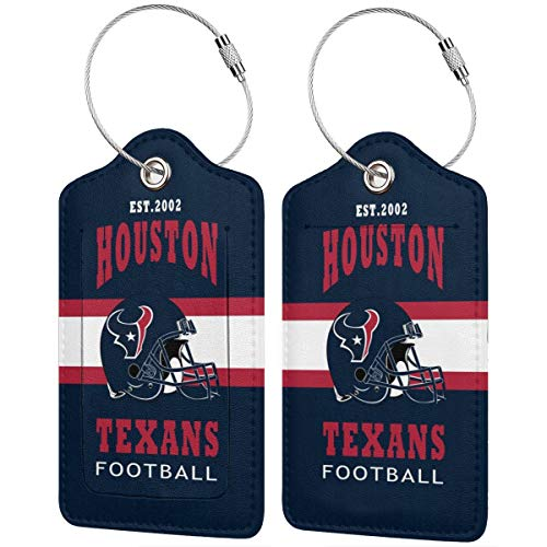 BXNOOD Leather Luggage Tags Houston Tex-ans Suitcase Tags Travel ID Labels Tag Instrument Tag for Bags & Baggage (1,2 & 4 Pack) 4 PCS