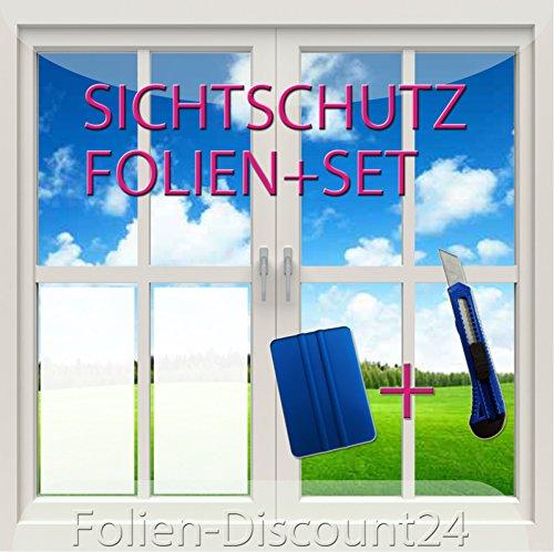 (EUR 8,25 / Quadratmeter) Fensterfolie | Sichtschutzfolie SET mit Cutter + Rakel | 120 cm x 100 cm cm PREIS TiP!
