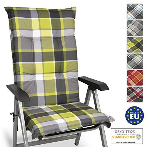 Beautissu Cuscino per Sdraio, poltrone e sedie da Giardino Sunny GR Verde 120x50x6cm - Extra Comfort - Colori Resistenti ai Raggi UV