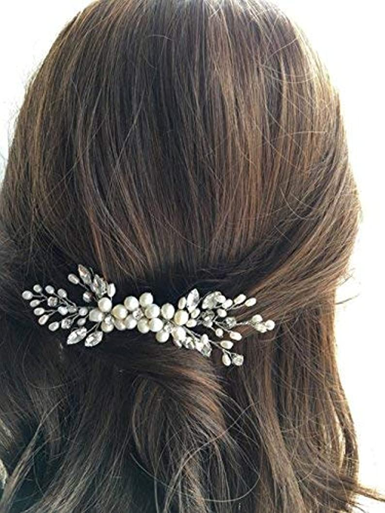 リムブレース影のあるJovono Bride Wedding Hair Comb Bridal Head Accessories Beaded Crystal Headpieces for Women and Girls (Silver) [並行輸入品]
