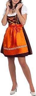 Edelnice Trachtenmode Mini Dirndl 3-TLG. braun orange mit passender Bluse und Schürze Gr. 32-48