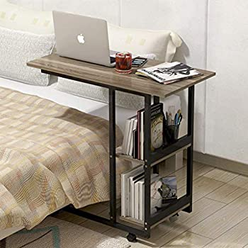 Overbed Table with Wheels Rolling Computer Laptop Table Bedside Desk Home Hospital Portable Dinner Cart Coffee TV Tray Office Dorm Over Bed Table with Storage Shelves Sofa Couch Chair Side Table