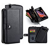 S9 Wallet Case,HYSJY PU Leather Detachable Magnetic Zipper Purse for Women with Slim Shockproof Cover Shell Card Holder Slots Coin Pocket Fit Samsung GalaxyS9 (Zip-Black, Galaxy S9)