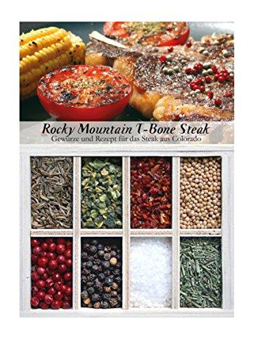 Rocky Mountain T-Bone Steak – 8 Gewürze für das würzige Steak aus Colorado (72g) – in einem schönen Holzkästchen – mit Rezept und Einkaufsliste – Geschenkidee für Feinschmecker – von Feuer & Glas