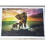 Elefante madre y niño jugando con animales lienzo pintura sala de estar dormitorio pared arte cartel sin marco pintura B 30x45cm