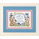 DIMENSIONS 06802'God Gave Us Counted Cross Stitch Birth Record Kit, 14 Count White Aida, 7' W x 5' H