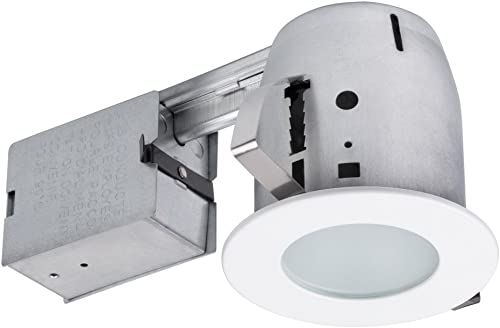 """popular Globe Electric outlet online sale 90663, 4"""" Flush outlet online sale Round Trim Recessed Lighting Kit Tempered Frosted Glass, White, 3.88"""" Hole Size outlet online sale"""