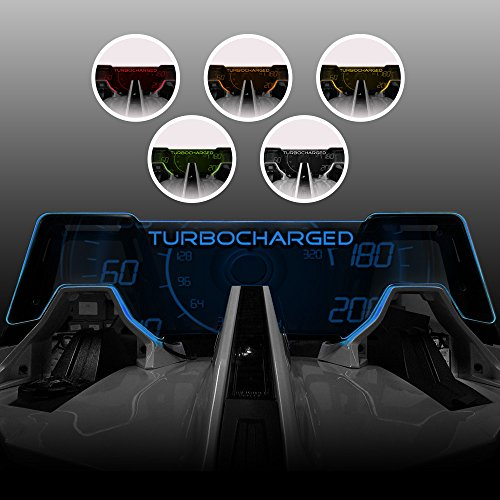 """Windrestrictor Blue LED Illuminating Wind Deflector for 2014-present Polaris Slingshot Convertible with Laser Etched""""Turbocharged"""" Graphic Tinted Glass"""